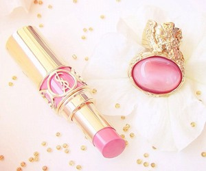 pink, lipstick, and gold image