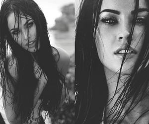megan fox and black and white image