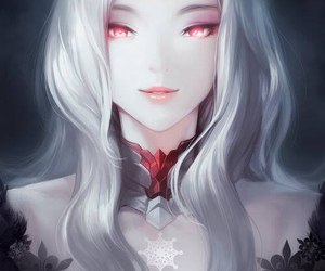 anime, girl, and red eyes image