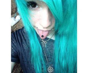 blue hair, scene, and alt girl image