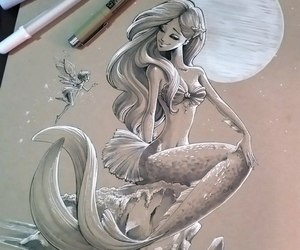 art, mermaid, and picture image
