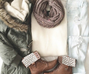 boots, coat, and winter image