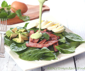 spinach, hard boiled eggs, and low carb image