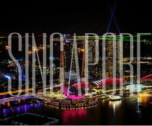 lights, singapore, and travel image