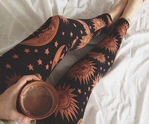 coffee, leggings, and sun image