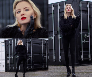 faux fur, red lips, and black everything image
