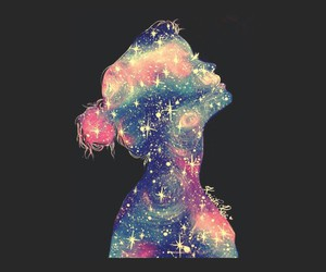 girl, galaxy, and black image