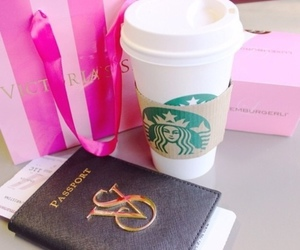 starbucks, passport, and coffee image