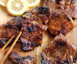 food, lemon, and meat image