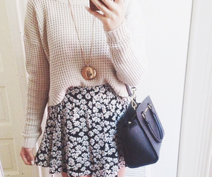 bag, phone, and skirt image