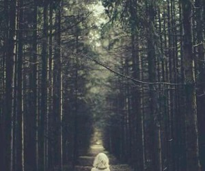 forest, girl, and alone image