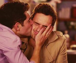 new girl, schmidt, and kiss image