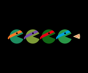 Pac Man, pizza, and tmnt image