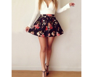 outfit, flowers, and skirt image