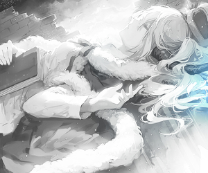manga, anime girl, and black and white image