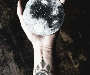 moon, tattoo, and hand image