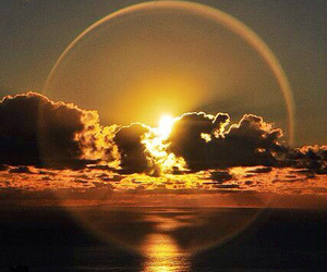 sunset, clouds, and sun image