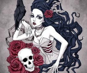 girl, skull, and crow image