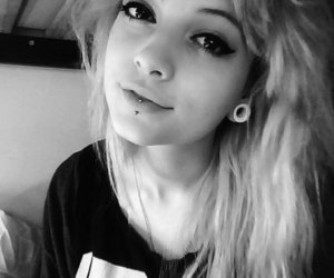 piercing, girl, and black and white image