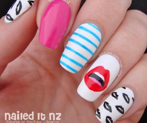 black and white, mouth, and nail art image