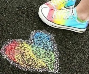 heart, rainbow, and shoes image