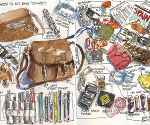 art, moleskine, and bag image