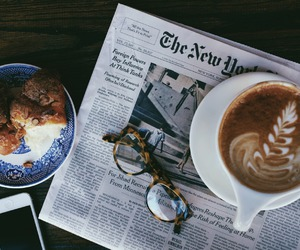 coffee, newspaper, and morning image