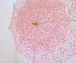 pink, umbrella, and lace image