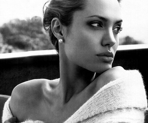 Angelina Jolie, black and white, and Hot image