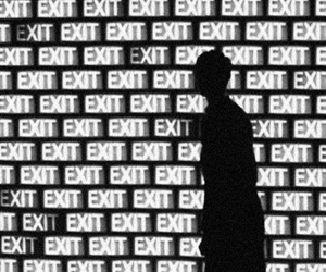 exit and black and white image