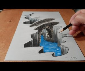 drawing, art, and bridge image