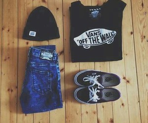 vans, outfit, and black image