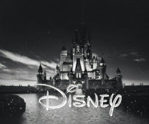 black & white, chateau, and disney image