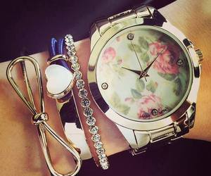 watch, flowers, and heart image