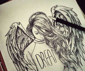 fly, angel, and drawing image