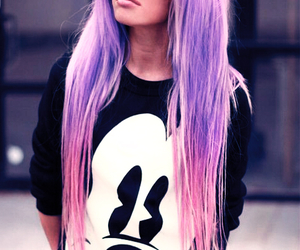 hair, mickey mouse, and pink image