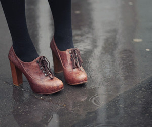 shoes, brown, and rain image
