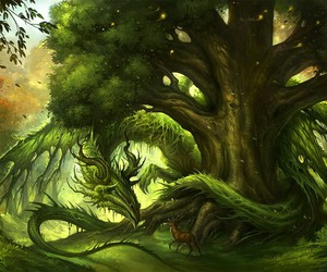 dragon, green, and forest image