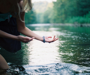 water, girl, and hands image