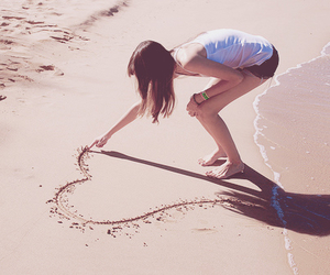 beach, girl, and heart image