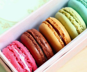 food, macarons, and pink image