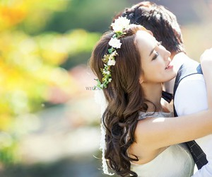 beautiful, bride, and happy image