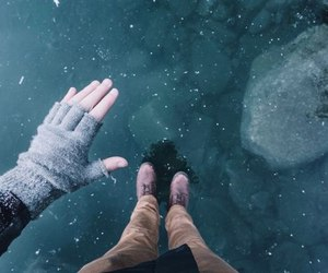 frozen, hand, and ice image