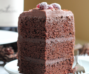 cake, chocolate, and red wine image