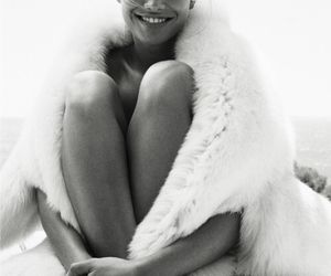 black and white, fur, and woman image