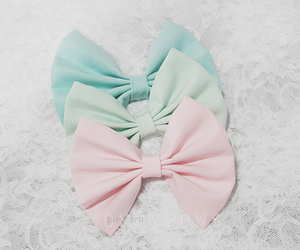 bow, pastel, and pink image