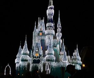 castle, disney, and lights image