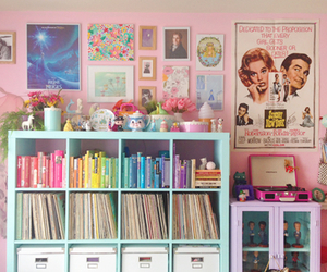 bedroom, pink, and retro image