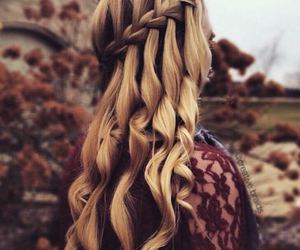 blonde, blonde hair, and braid image