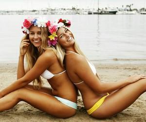 beach, water, and bikini image